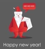 Julkort med origami Santa Claus också vektor för coreldrawillustration stock illustrationer