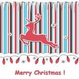 Julkort med reindeert och den festliga girlanden Arkivbilder