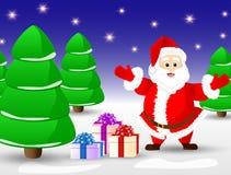 Julkort med Santa Claus i vinterskog vektor illustrationer