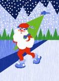Julkort med Santa Claus, Jolly Saint Nicholas i de nordiska träna Royaltyfria Foton