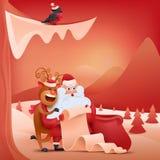 Julkort med Santa Claus och hjortar nytt år för liggande royaltyfri illustrationer