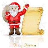 Julkort med Santa Claus och pergament vektor illustrationer