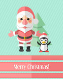 Julkort med Santa Claus och pingvinet Royaltyfri Foto