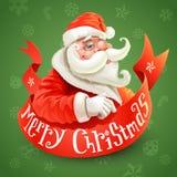 Julkort med Santa Claus på grön backgroun Arkivbild