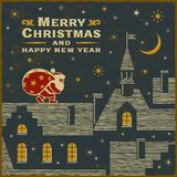 Julkort med Santa Claus på taket royaltyfri illustrationer
