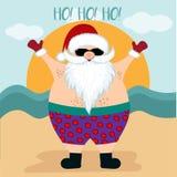 Julkort med santa på stranden stock illustrationer