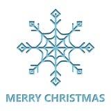 Julkort med snöflingasnittet från papper Royaltyfria Bilder