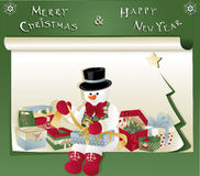 Julkort med snögubben och gåvan Arkivbilder