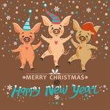 Julkort med tre svin vektor illustrationer