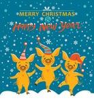 Julkort med tre svin stock illustrationer