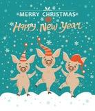 Julkort med tre svin royaltyfri illustrationer