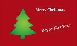 Julkort med treen stock illustrationer