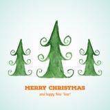 Julkort med vattenfärgjulgranar Arkivfoto