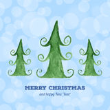 Julkort med vattenfärgjulgranar Arkivbilder