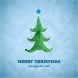 Julkort med vattenfärgjulgranen Royaltyfri Foto
