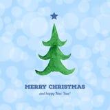 Julkort med vattenfärgjulgranen Royaltyfria Bilder