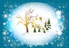 Julkort med vinterlandskap Vektor Illustrationer