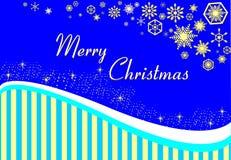 Julkort på en blå bakgrund med guldband och snowfl Fotografering för Bildbyråer