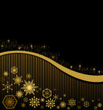 Julkort på en svart bakgrund med guld- band Royaltyfri Foto