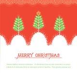 Julkort. Röd illusrtration för vektor med träd royaltyfri illustrationer