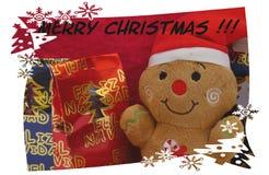 Julkort Santa Claus och glad jul Arkivfoto