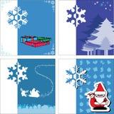 Julkort Santa och blå snowflake Vektor Illustrationer