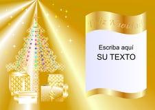 Julkort som dekoreras med Xmas-trädet, bollar och gåvaaskar guld- esp2a Royaltyfri Bild
