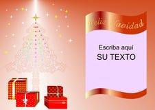Julkort som dekoreras med Xmas-trädet, bollar och gåvaaskar röd esp1 Arkivfoton