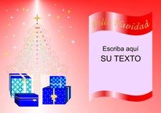 Julkort som dekoreras med Xmas-trädet, bollar och gåvaaskar röd esp2a Royaltyfria Bilder
