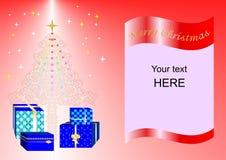 Julkort som dekoreras med Xmas-trädet, bollar och gåvaaskar röd ing2 Arkivfoton