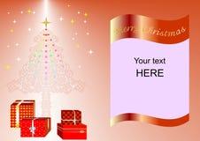 Julkort som dekoreras med Xmas-trädet, bollar och lilor ing1a för gåvaaskar Fotografering för Bildbyråer