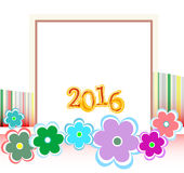 Julkort som 2016 inramas med blommauppsättningen ferie Arkivfoto