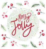 Julkortdesign med järnekbär och filialer Festlig prydnad för nytt år för vattenfärg för hälsningar royaltyfri illustrationer