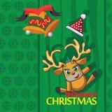 Julkortdesign som är gullig med grön bakgrund Arkivbilder