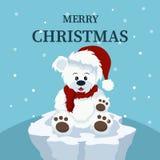 Julkortet av den härliga isbjörnen behandla som ett barn royaltyfri illustrationer