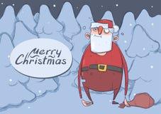 Julkortet av roliga berusade Santa Claus med en påse i den snöig prydliga skogen för natten slöde bort borttappade Santa Claus so vektor illustrationer