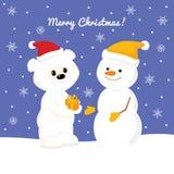 Julkortet med behandla som ett barn polara bearChristmas som kortet med behandla som ett barn isbjörnen och snögubben Royaltyfria Bilder