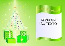 Julkortet som dekoreras med Xmas-trädet, bollar och gåvaaskar gör grön esp2a Fotografering för Bildbyråer