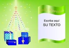 Julkortet som dekoreras med Xmas-trädet, bollar och gåvaaskar gör grön esp1a Arkivfoton