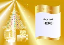 Julkortet som dekoreras med Xmas-trädet, bollar och gåvaaskar slösar esp1 Arkivbild