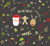 Julkortillustration med jultomten arkivbilder