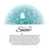 Julkortmall med beståndsdelar och bokstäver för hand utdragna royaltyfri illustrationer
