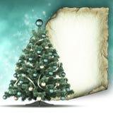 Julkortmall - xmas-träd och pappers- ark arkivfoto