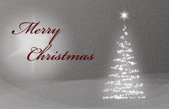 JulkortX-Mas Card med Christmastree snö- och stjärnagrå färger och rött Royaltyfria Bilder