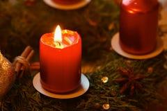 Julkran med stearinljuset Husgarneringar Klassisk tjeckisk tradition Begrepp för vintersäsongen, maten och julholien Royaltyfri Foto