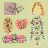 Julkran och klockor stock illustrationer