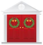 Julkranar på dubbel röd dörrillustration royaltyfri illustrationer