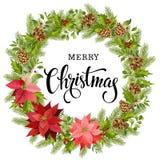 Julkrans av den röda julstjärnan och sidor för flygillustration för näbb dekorativ bild dess paper stycksvalavattenfärg vektor illustrationer