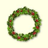 Julkrans av järnek med röda bär och snöflingor royaltyfri illustrationer