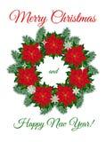 Julkrans av julstjärnablommor Arkivbilder